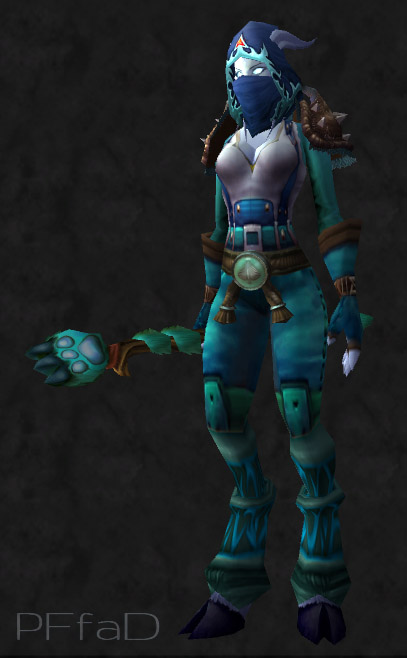 Leather transmog pretty fly for a draenei